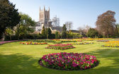 A view of Bury St.Edmunds cathedral being restored — Stock Photo
