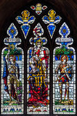 Stained glass window Norwich Cathedral — Stock Photo