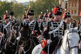 Hussars parading on horseback at the Lord Mayor's Show London — Stock Photo