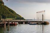 Deserted scene at Garda Lake Garda Italy in the autumn — Stock Photo
