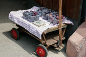 Ripe victoria plums for sale on a trolley in Ihringen Germany — Stock Photo