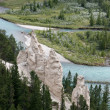 Stock Photo: Bow River and Hoodoos near Banff