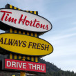 Stock Photo: Sign for Tim Horton's coffee shop in Canada