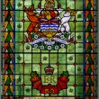 Close-up detail of a stained glass window in the British Colombia Parliament building Victoria — Stock Photo