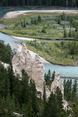 Bow River and the Hoodoos near Banff — Stok fotoğraf