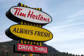 Sign for Tim Horton's coffee shop in Canada — Stock Photo