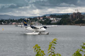 Seaplane taxiing in Vancouver — Photo