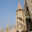 Spires and statues of Duomo Cathedral — Stock Photo #40284313