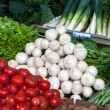 Various vegetables on display in the fruit and vegetable market — Stock Photo