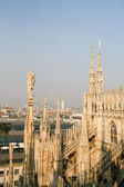 Spires and statues of the Duomo Cathedral — Stock Photo