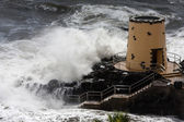 Tropical storm hitting the lookout tower — Stok fotoğraf