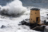 Tropical storm hitting the lookout tower — Stock Photo