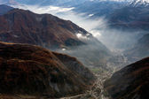 View of Cormayeur from Monte Bianco — Stock Photo