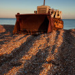 Bulldozer on Dungeness beach — Stock Photo