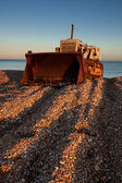 Bulldozer on Dungeness beach — Stock Photo