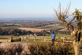 Admiring the view from the South Downs at Ditchling — Stock Photo