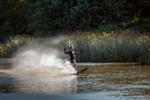 Water skiing at Wiremill Lake East Grinstead — Stok fotoğraf