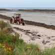 Stock Photo: Tractor on sandy beach at Boulmer Northumberland
