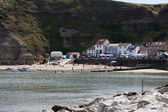 View of Staithes harbour — Foto Stock