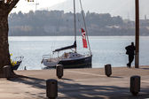 Boats at Lake Como Lecco Italy — Fotografia Stock