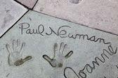 Paul Newman signature and handprints Hollywood — Stok fotoğraf