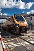 Diesel locomotive passing through Paignton — Stock Photo
