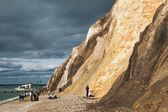 People on Alum Bay beach Isle of Wight — Zdjęcie stockowe