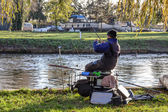 Fishing the river Great Ouse Ely — Stock Photo