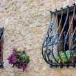 Wrought iron security bars over windows in Pienza — Stock Photo #41568073
