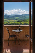 View from the balcony of the hotel Piccolo in Pienza — Stock Photo