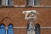 She-wolf suckling infants Romulus and Remus near Sienna Cathedral — Stock Photo