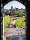View of the gounds of Cardiff Castle from the keep door — Stock Photo