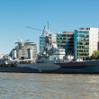 Stock Photo: HMS Belfast anchored near Tower Bridge
