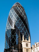 Futuristic building at 30 St Mary Axe London — Stock Photo