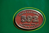 Manufacturers plaque on C Class steam train — Stock Photo