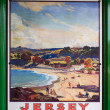 Stock Photo: Old Southern Railway Poster advertising trips to Jersey