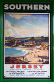 Old Southern Railway Poster advertising trips to Jersey — Stock Photo