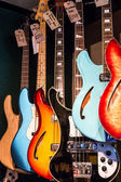 Electric guitars on display in a music shop — Stock Photo