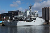 CARDIFF UK MARCH 2014 - HMS Enterprises docks at Cardiff — Stock Photo