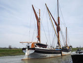 Close up view of the Cambria restored Thames sailing barge in Fa — Stock Photo