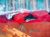 Abstract peeling sanded paintwork on a Fibre glass boat in Faver — Stock Photo