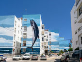 Fishing Day mural by Jose Fernandez Rios in Estepona Spain — Stock Photo
