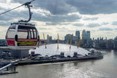 View of the O2 building and a London cable car gondola — Stock Photo