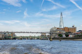 The Shard and Millennium bridge in London — Stock Photo