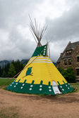 A Canadian native teepee in Cascade Gardens Banff   — Photo