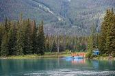 Canoeing Centre Bow River near Banff — Zdjęcie stockowe