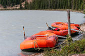 Rafts moored on the Athabasca River — Stock Photo
