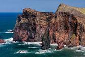 Kliffen op st lawrence madeira ongebruikelijke verticale rock formulier tonen — Stockfoto