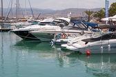 Surtido de barcos en el puerto deportivo de latchi chipre — Foto de Stock