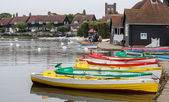 Group of rowing boats at Thorpeness boating lake — Stock fotografie